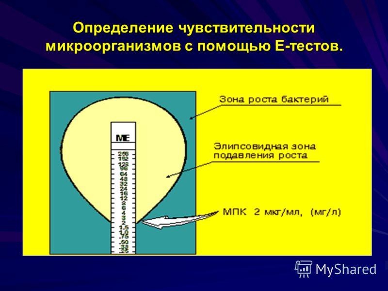 Определение чувствительности микроорганизмов с помощью Е-тестов.