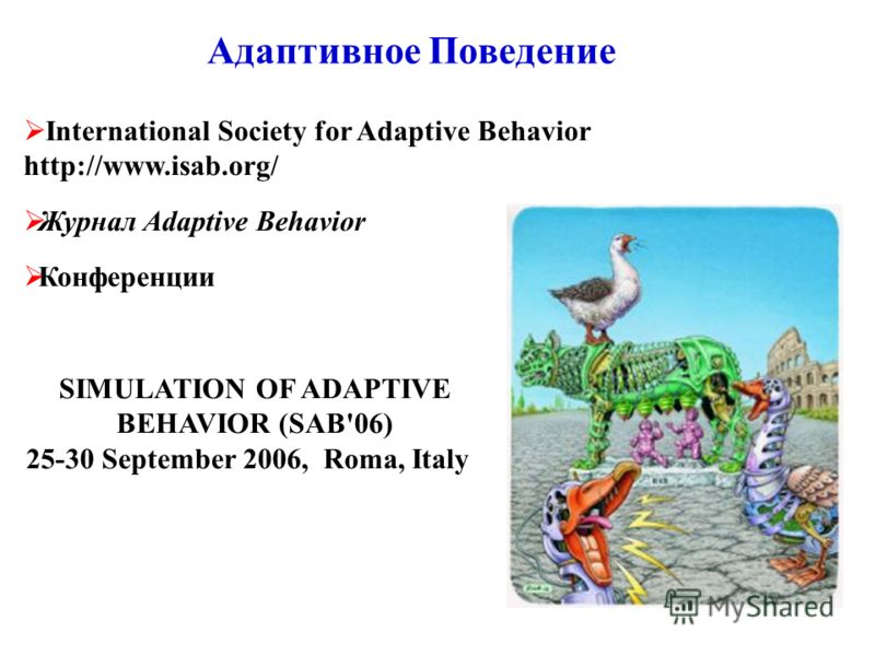 Адаптивное Поведение International Society for Adaptive Behavior http://www.isab.org/ Журнал Adaptive Behavior Конференции SIMULATION OF ADAPTIVE BEHAVIOR (SAB'06) 25-30 September 2006, Roma, Italy