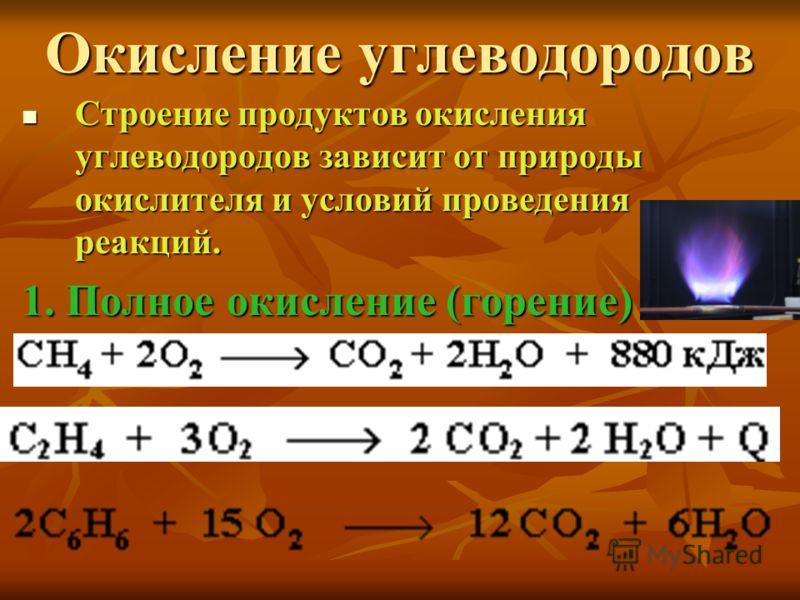 Окисление углеводородов Строение продуктов окисления углеводородов зависит от природы окислителя и условий проведения реакций. Строение продуктов окисления углеводородов зависит от природы окислителя и условий проведения реакций. 1. Полное окисление