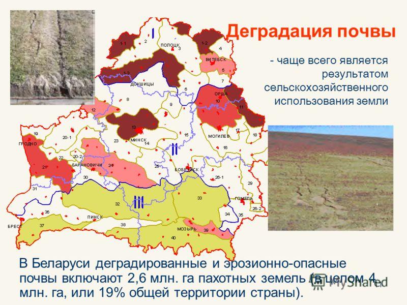 11 Деградация почвы - чаще всего является результатом сельскохозяйственного использования земли В Беларуси деградированные и эрозионно-опасные почвы включают 2,6 млн. га пахотных земель (в целом 4 млн. га, или 19% общей территории страны).