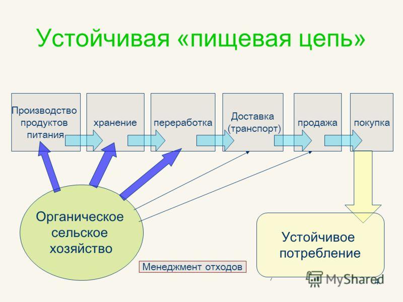 4 Устойчивая «пищевая цепь» Производство продуктов питания хранениепереработка Доставка (транспорт) продажапокупка Органическое сельское хозяйство Устойчивое потребление Менеджмент отходов