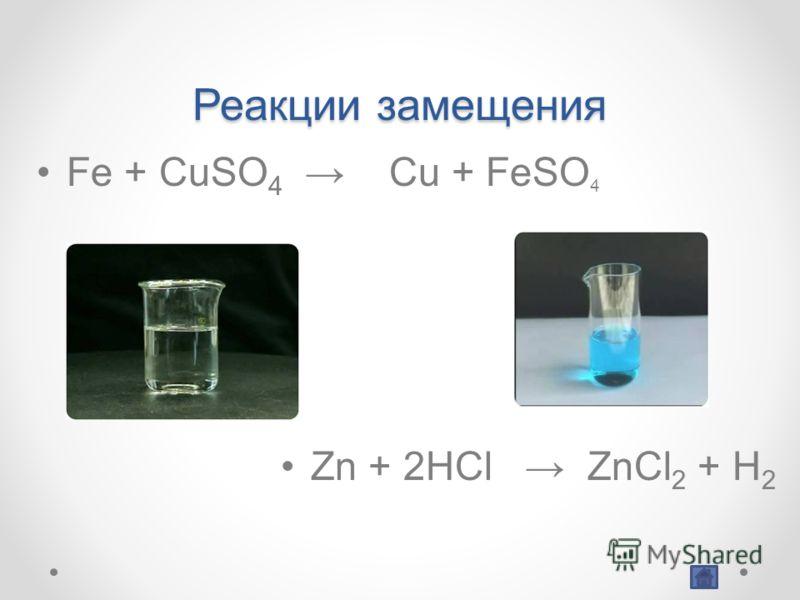 Реакции замещения Fe + CuSO 4 Cu + FeSO 4 Zn + 2HCl ZnCl 2 + H 2