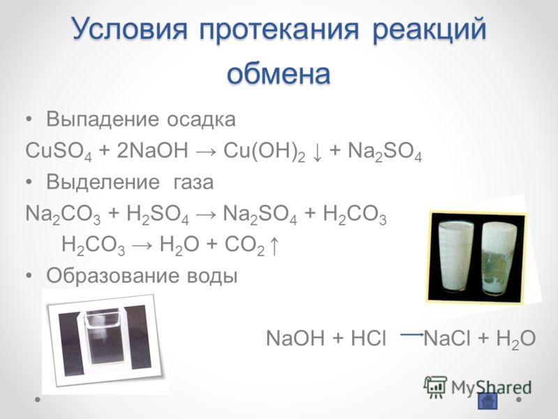 Условия протекания реакций обмена Выпадение осадка CuSO 4 + 2NaOH Cu(OH) 2 + Na 2 SO 4 Выделение газа Na 2 CO 3 + H 2 SO 4 Na 2 SO 4 + H 2 CO 3 H 2 CO 3 H 2 O + CO 2 Образование воды NaOH + HCl NaCl + H 2 O