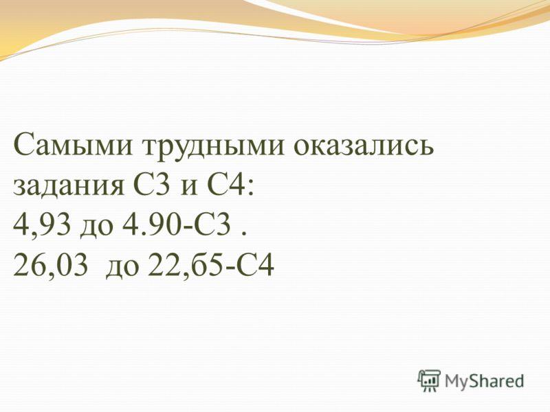 Самыми трудными оказались задания С3 и С4: 4,93 до 4.90-С3. 26,03 до 22,б5-С4