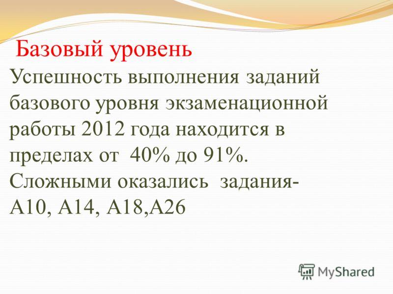Базовый уровень Успешность выполнения заданий базового уровня экзаменационной работы 2012 года находится в пределах от 40% до 91%. Сложными оказались задания- А10, А14, А18,А26