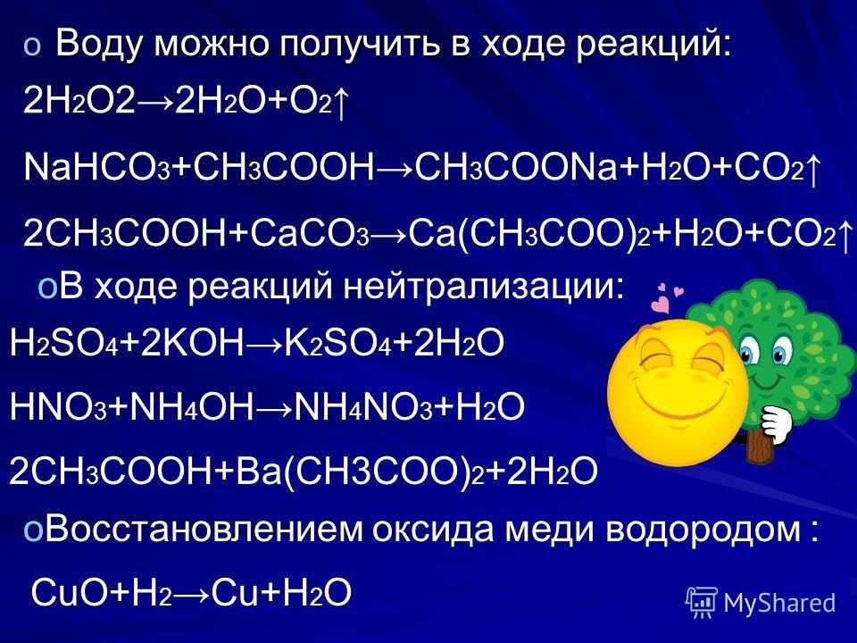 o Воду можно получить в ходе реакций: o Восстановлением оксида меди водородом : oВ ходе реакций нейтрализации: 2H 2 O22H 2 O+O 2 NaHCO 3 +CH 3 COOHCH 3 COONa+H 2 O+CO 2 2CH 3 COOH+CaCO 3 Ca(CH 3 COO) 2 +H 2 O+CO 2 H 2 SO 4 +2KOHK 2 SO 4 +2H 2 O HNO 3