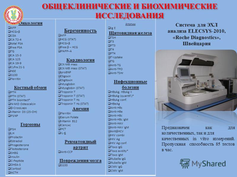 Система для ЭХЛ анализа ELECSYS-2010, «Roche Diagnostics», Швейцария Онкология AFP HCG+β CEA CA 72-4 total PSA free PSA TG CA 15-3 CA 125 CA 19-9 Cyfra 21-1 NSE S100 Ferritin Костный обмен PTH PTH (STAT) PTH biointact* N-MID Osteocalcin β-CrossLaps V