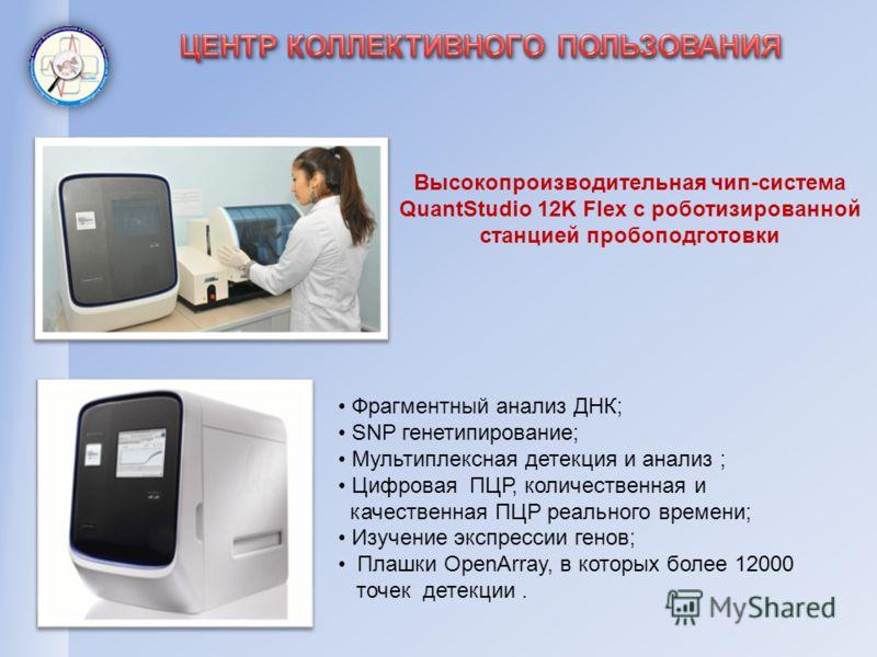 Высокопроизводительная чип-система QuantStudio 12K Flex с роботизированной станцией пробоподготовки Фрагментный анализ ДНК; SNP генетипирование; Мультиплексная детекция и анализ ; Цифровая ПЦР, количественная и качественная ПЦР реального времени; Изу
