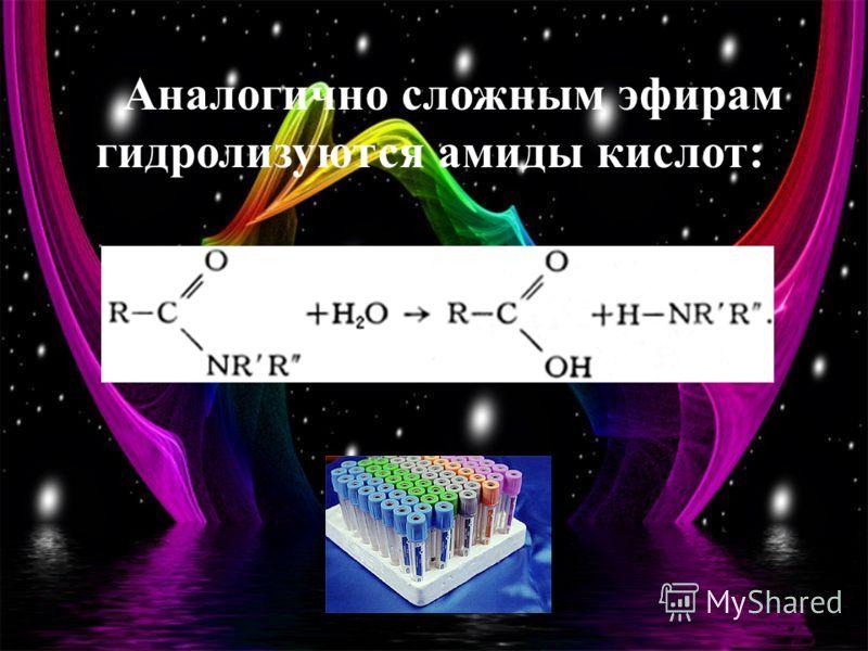 Аналогично сложным эфирам гидролизуются амиды кислот: