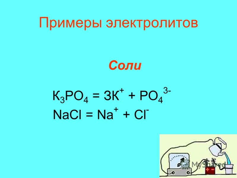 Примеры электролитов Соли К 3 РО 4 = ЗК + + PO 4 3- NaCl = Na + + Cl -