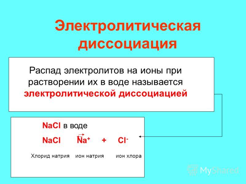 Распад электролитов на ионы при растворении их в воде называется электролитической диссоциацией NaCl в воде NaCl Na + + Cl - Хлорид натрия ион натрия ион хлора Электролитическая диссоциация