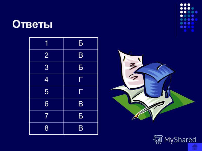 Ответы 1Б 2В 3Б 4Г 5Г 6В 7Б 8В