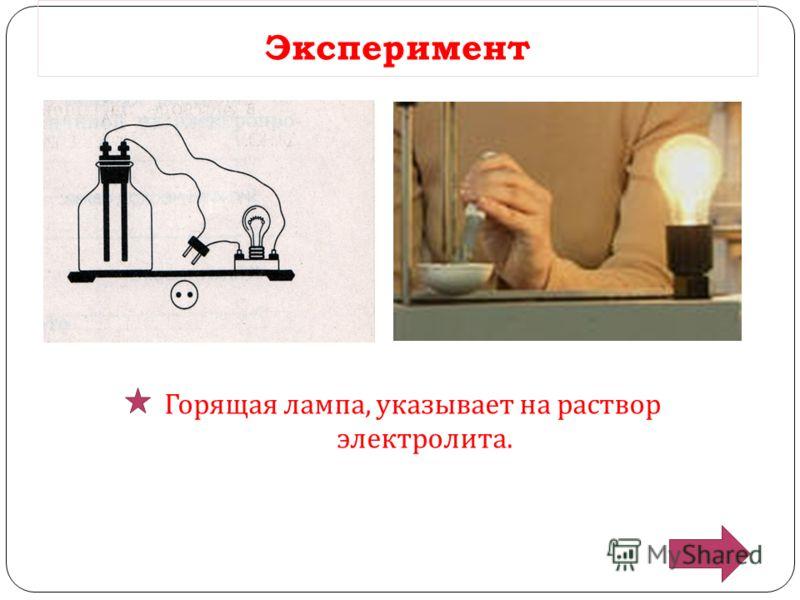 Эксперимент Горящая лампа, указывает на раствор электролита.