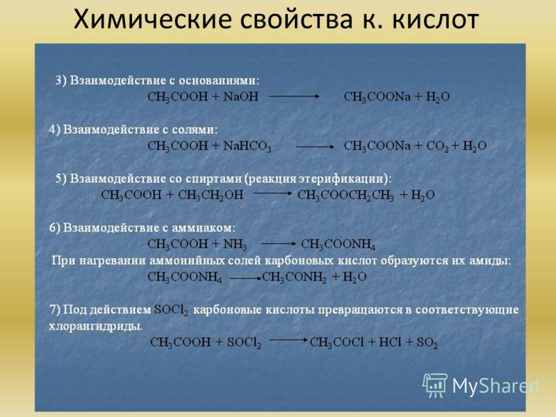 Химические свойства к. кислот