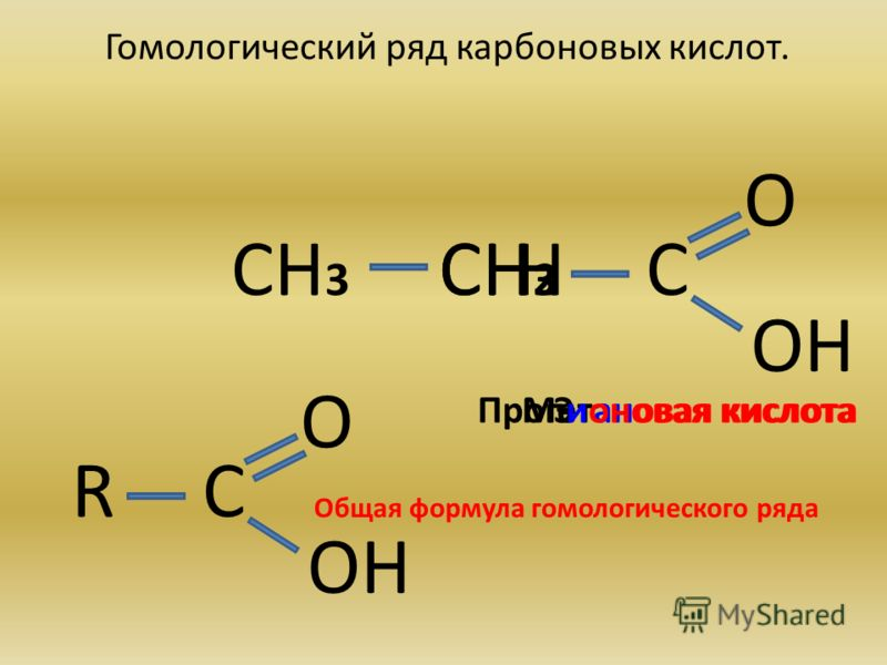 Гомологический ряд карбоновых кислот. О ОН Н С тановая кислота СН 3 ЭМе СН 2 СН 3 Пропионовая кислота О ОН СR Общая формула гомологического ряда