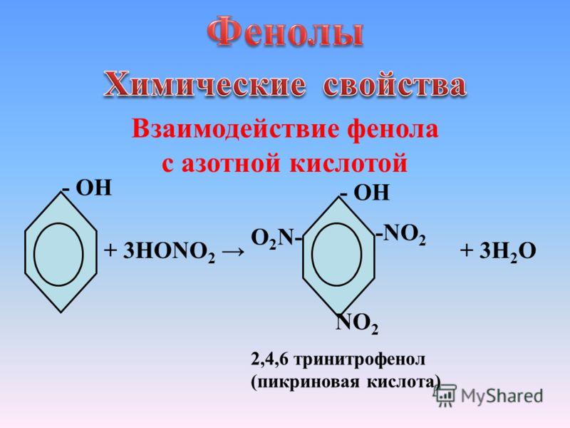 Взаимодействие фенола с азотной кислотой - ОН + 3HONO 2 - ОH + 3H 2 О -NO 2 2,4,6 тринитрофенол (пикриновая кислота) NO 2 O 2 N-
