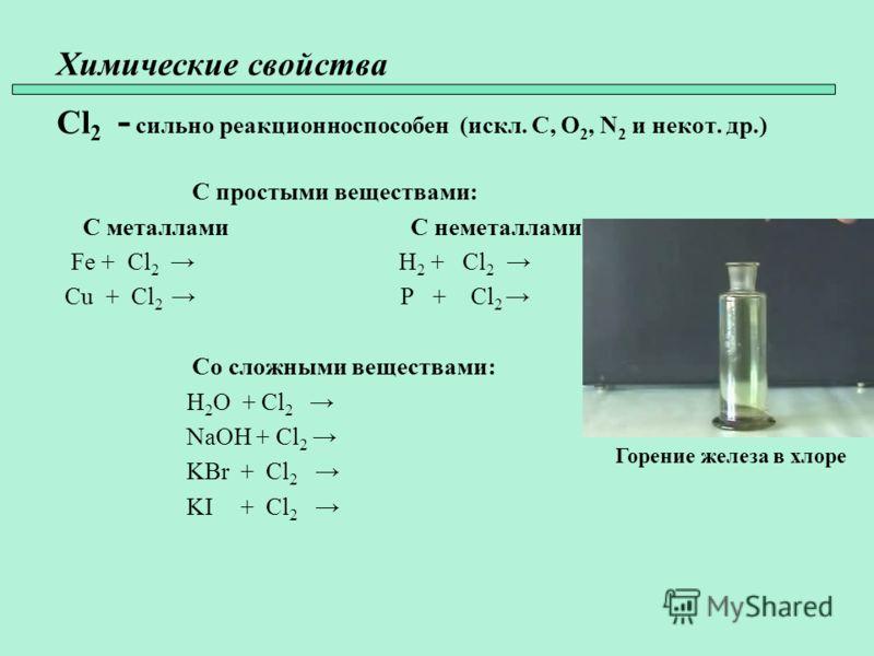 Химические свойства Cl 2 - сильно реакционноспособен (искл. C, O 2, N 2 и некот. др.) С простыми веществами: С металлами С неметаллами Fe + Cl 2 H 2 + Cl 2 Cu + Cl 2 P + Cl 2 Со сложными веществами: H 2 O + Cl 2 NaOH + Cl 2 KBr + Cl 2 KI + Cl 2 Горен