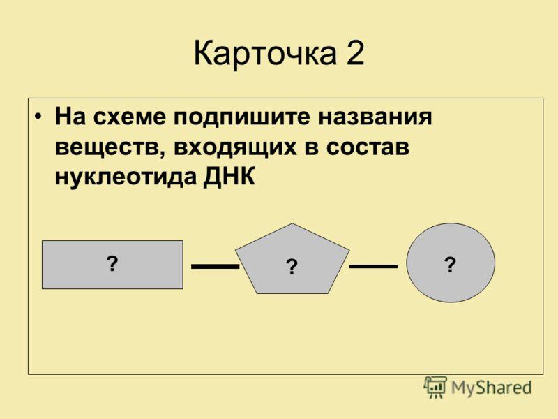Карточка 2 На схеме подпишите названия веществ, входящих в состав нуклеотида ДНК ? ? ?