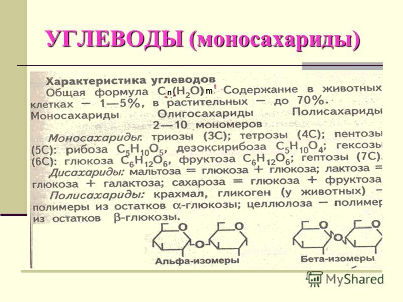 УГЛЕВОДЫ (моносахариды) n m