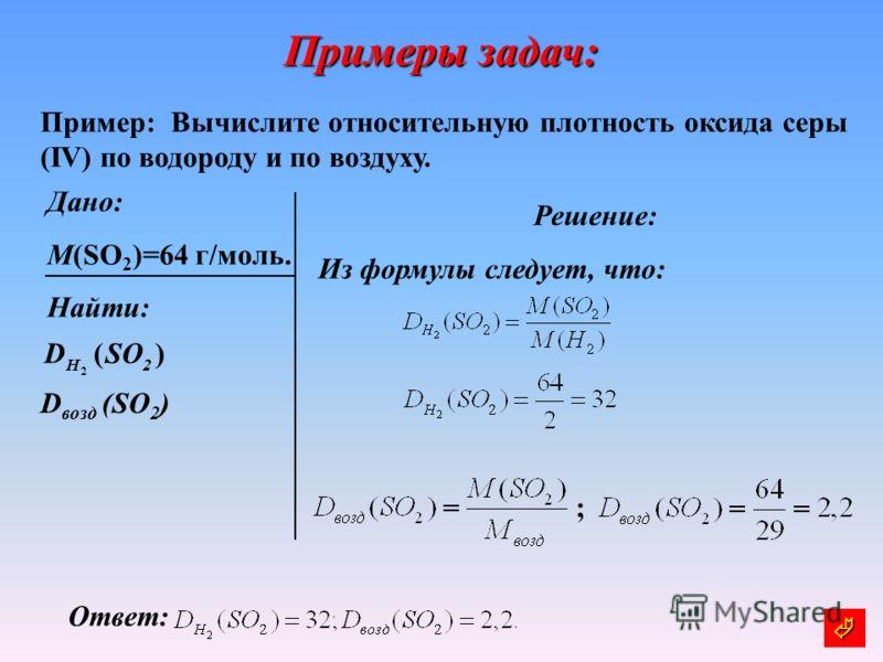 Примеры задач: Пример: Вычислите относительную плотность оксида серы (IV) по водороду и по воздуху. Дано: M(SO 2 )=64 г/моль. Найти: Решение: Из формулы следует, что: Ответ: D возд (SO 2 ) )( 2 2 SOD H ;
