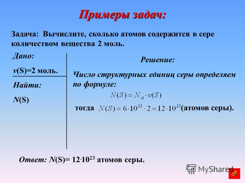 Примеры задач: Задача: Вычислите, сколько атомов содержится в сере количеством вещества 2 моль. Дано: v(S)=2 моль. Найти: N(S) Решение: Число структурных единиц серы определяем по формуле: (атомов серы). Ответ: N(S)= 12. 10 23 атомов серы. тогда
