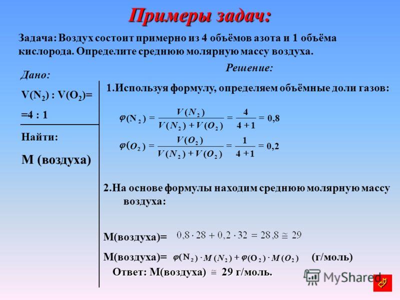 Примеры задач: Задача: Воздух состоит примерно из 4 объёмов азота и 1 объёма кислорода. Определите среднюю молярную массу воздуха. Дано: V(N 2 ) : V(O 2 )= =4 : 1 Решение: 1.Используя формулу, определяем объёмные доли газов: 2.На основе формулы наход