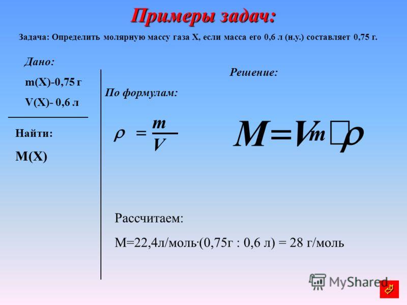 Примеры задач: Задача: Определить молярную массу газа Х, если масса его 0,6 л (н.у.) составляет 0,75 г. Дано: m(X)-0,75 г V(X)- 0,6 л Решение: По формулам: Найти: M(X) m VM V m Рассчитаем: М=22,4л/моль. (0,75г : 0,6 л) = 28 г/моль