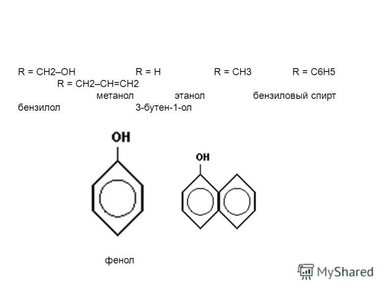 R = CH2–OH R = H R = CH3 R = C6H5 R = CH2–CH=CH2 метанол этанол бензиловый спирт бензилол 3-бутен-1-ол фенол