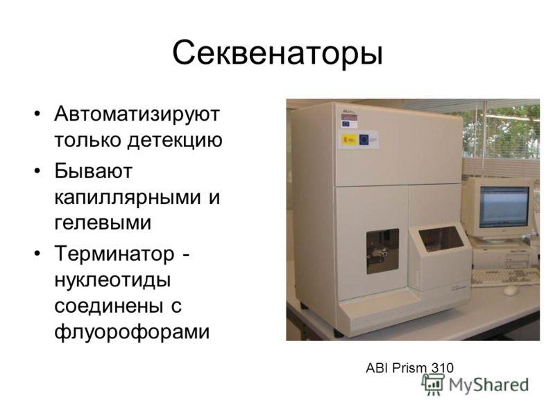 Секвенаторы Автоматизируют только детекцию Бывают капиллярными и гелевыми Терминатор - нуклеотиды соединены с флуорофорами ABI Prism 310
