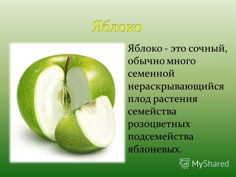Яблоко - это сочный, обычно много семенной нераскрывающийся плод растения семейства розоцветных подсемейства яблоневых.