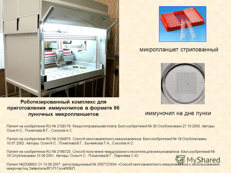 Роботизированный комплекс для приготовления иммуночипов в формате 96 луночных микропланшетов микропланшет стрипованный иммуночип на дне лунки Патент на изобретение RU 2158179. Микротитровальная плата. Бюл.изобретений 30.Опубликовано 27.10.2000. Автор