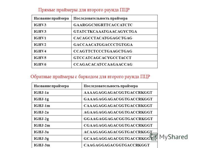 Прямые праймеры для второго раунда ПЦР Название праймераПоследовательность праймера IGHV3GAARGGCMGRTTCACCATCTC IGHV3GTATCTKCAAATGAACAGYCTGA IGHV1CACAGCCTACATGGAGCTGAG IGHV2GACCAACATGGACCCTGTGGA IGHV4CCAGTTCTCCCTGAAGCTGAG IGHV5GTCCATCAGCACYGCCTACCT IG