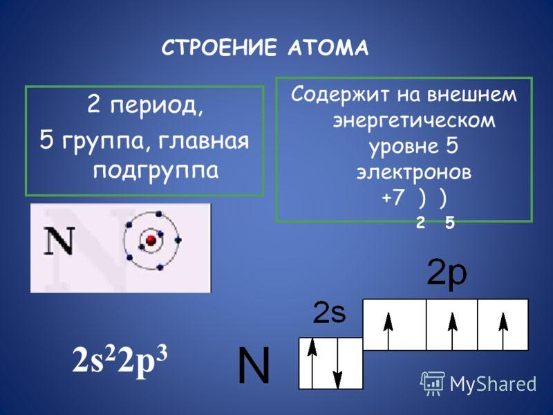 СТРОЕНИЕ АТОМА 2 период, 5 группа, главная подгруппа Содержит на внешнем энергетическом уровне 5 электронов +7 ) ) 2 5 2s 2 2p 3