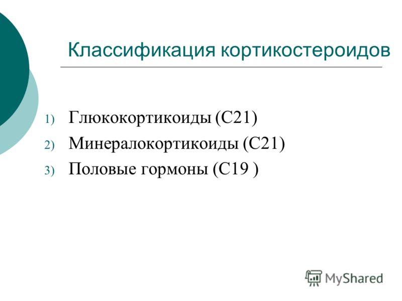 Классификация кортикостероидов 1) Глюкокортикоиды (С21) 2) Минералокортикоиды (С21) 3) Половые гормоны (С19 )
