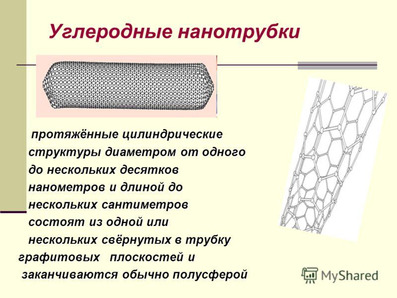 Углеродные нанотрубки протяжённые цилиндрические протяжённые цилиндрические структуры диаметром от одного структуры диаметром от одного до нескольких десятков до нескольких десятков нанометров и длиной до нанометров и длиной до нескольких сантиметров