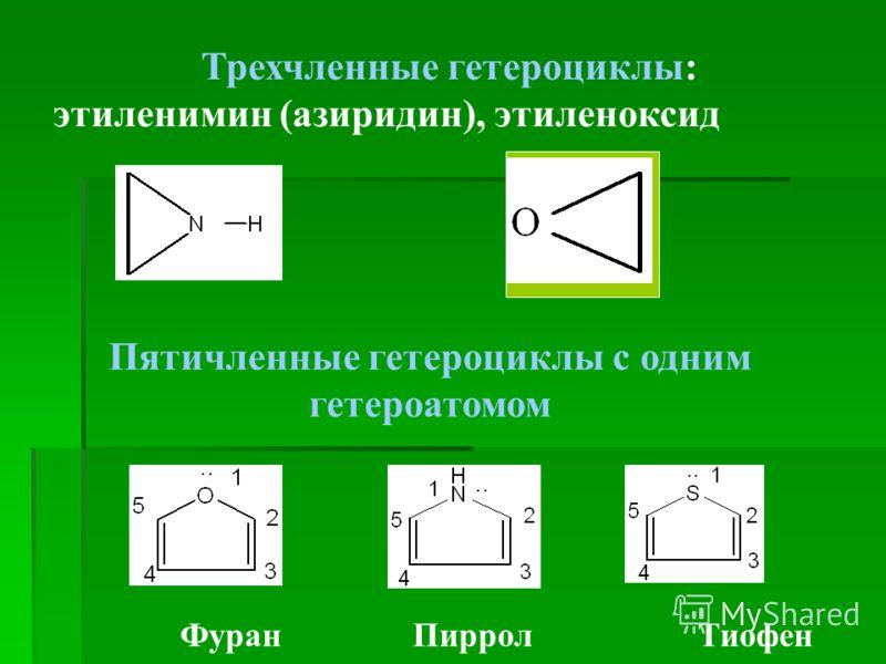 Трехчленные гетероциклы: этиленимин (азиридин), этиленоксид Фуран Пиррол Тиофен Пятичленные гетероциклы с одним гетероатомом