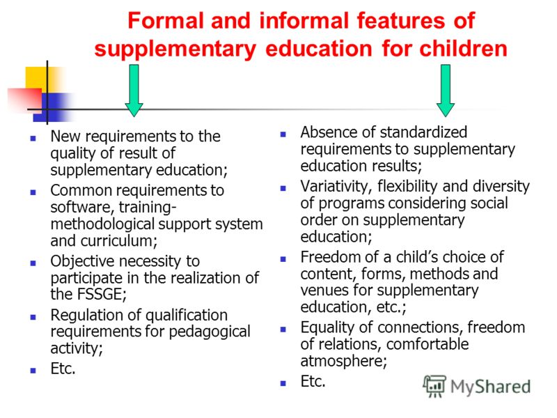 Formal and informal features of supplementary education for children New requirements to the quality of result of supplementary education; Common requirements to software, training- methodological support system and curriculum; Objective necessity to