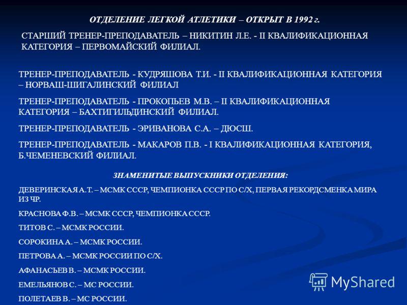 ОТДЕЛЕНИЕ ЛЕГКОЙ АТЛЕТИКИ – ОТКРЫТ В 1992 г. СТАРШИЙ ТРЕНЕР-ПРЕПОДАВАТЕЛЬ – НИКИТИН Л.Е. - II КВАЛИФИКАЦИОННАЯ КАТЕГОРИЯ – ПЕРВОМАЙСКИЙ ФИЛИАЛ. ТРЕНЕР-ПРЕПОДАВАТЕЛЬ - КУДРЯШОВА Т.И. - II КВАЛИФИКАЦИОННАЯ КАТЕГОРИЯ – НОРВАШ-ШИГАЛИНСКИЙ ФИЛИАЛ ТРЕНЕР-П