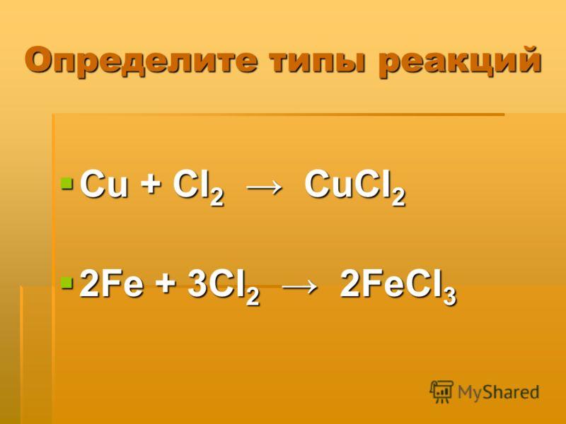 Определите типы реакций Cu + CI 2 CuCI 2 Cu + CI 2 CuCI 2 2Fe + 3CI 2 2FeCI 3 2Fe + 3CI 2 2FeCI 3
