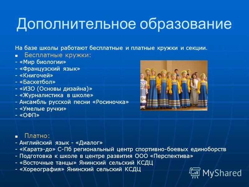 На базе школы работают бесплатные и платные кружки и секции. Бесплатные кружки: - «Мир биологии» - «Французский язык» - «Книгочей» - «Баскетбол» - «ИЗО (Основы дизайна)» - «Журналистика в школе» - Ансамбль русской песни «Росиночка» - «Умелые ручки» -