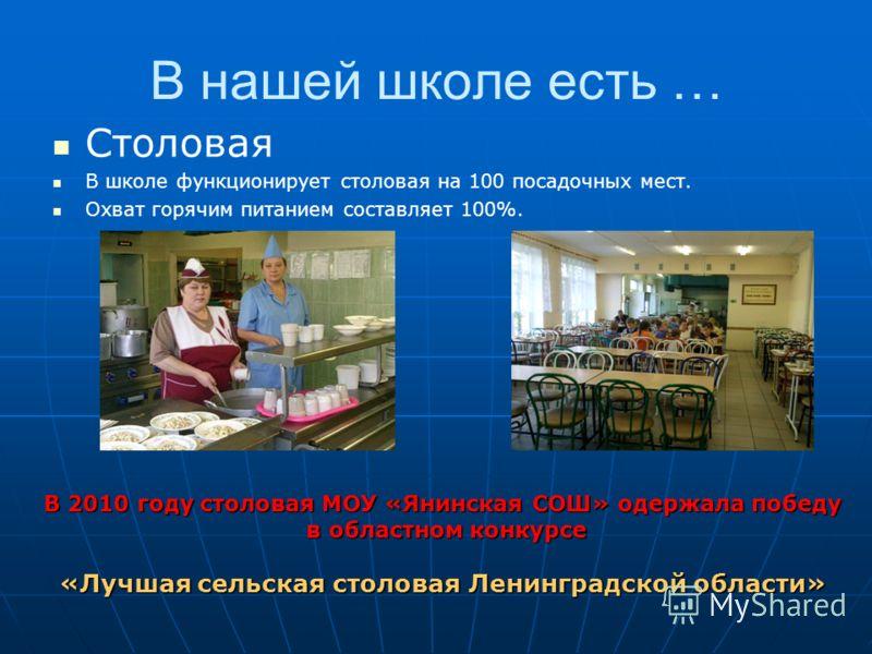 В нашей школе есть … Столовая В школе функционирует столовая на 100 посадочных мест. Охват горячим питанием составляет 100%. В 2010 году столовая МОУ «Янинская СОШ» одержала победу в областном конкурсе в областном конкурсе «Лучшая сельская столовая Л