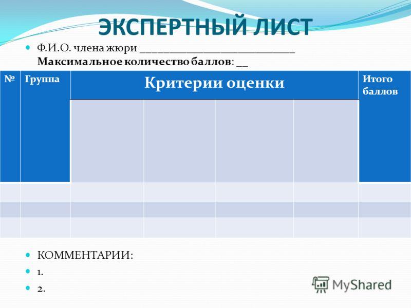 ЭКСПЕРТНЫЙ ЛИСТ Ф.И.О. члена жюри ___________________________ Максимальное количество баллов: __ КОММЕНТАРИИ: 1. 2. Группа Критерии оценки Итого баллов