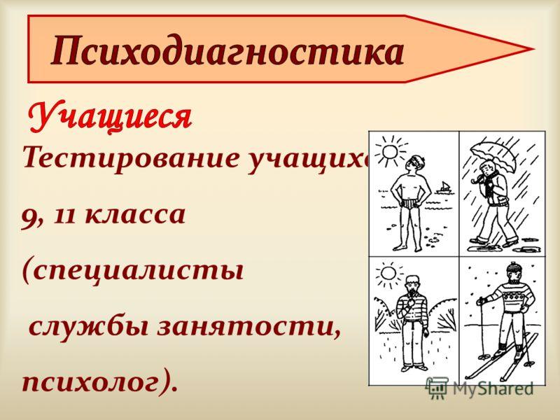 Тестирование учащихся 9, 11 класса (специалисты службы занятости, психолог).