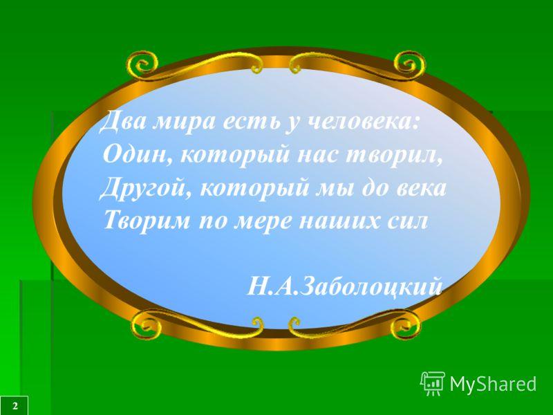 Два мира есть у человека: Один, который нас творил, Другой, который мы до века Творим по мере наших сил Н.А.Заболоцкий 2