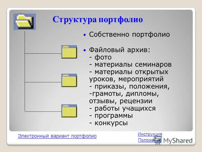 Структура портфолио Собственно портфолио Файловый архив: - фото - материалы семинаров - материалы открытых уроков, мероприятий - приказы, положения, -грамоты, дипломы, отзывы, рецензии - работы учащихся - программы - конкурсы Электронный вариант порт