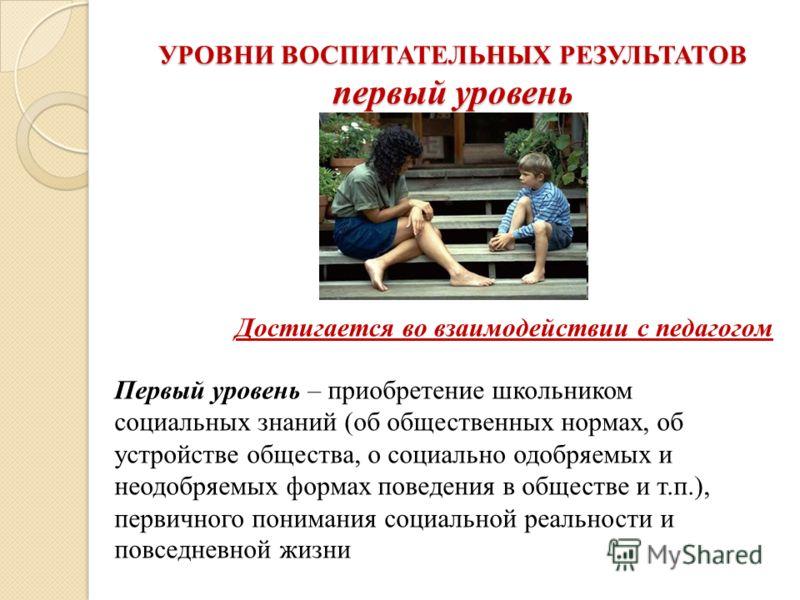 УРОВНИ ВОСПИТАТЕЛЬНЫХ РЕЗУЛЬТАТОВ первый уровень Первый уровень – приобретение школьником социальных знаний (об общественных нормах, об устройстве общества, о социально одобряемых и неодобряемых формах поведения в обществе и т.п.), первичного пониман