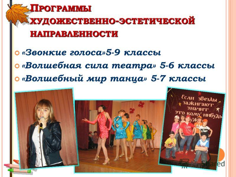 П РОГРАММЫ ХУДОЖЕСТВЕННО - ЭСТЕТИЧЕСКОЙ НАПРАВЛЕННОСТИ «Звонкие голоса»5-9 классы «Волшебная сила театра» 5-6 классы «Волшебный мир танца» 5-7 классы