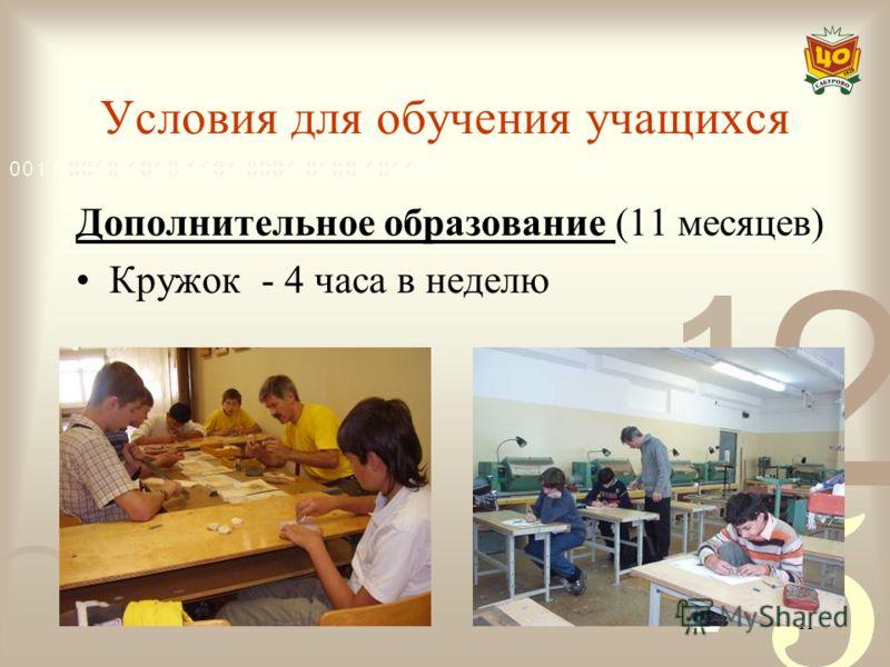 11 Условия для обучения учащихся Дополнительное образование (11 месяцев) Кружок - 4 часа в неделю