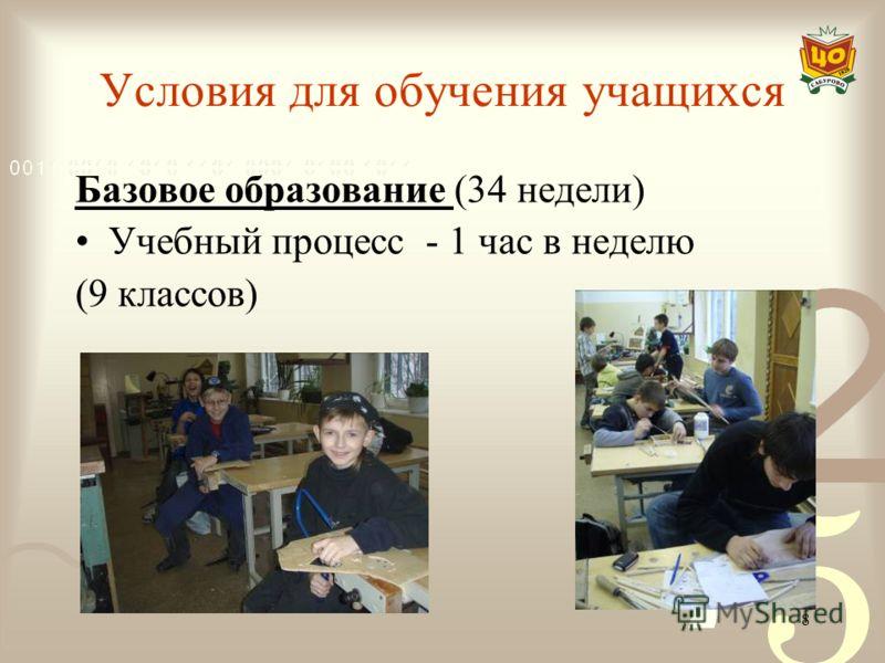 8 Условия для обучения учащихся Базовое образование (34 недели) Учебный процесс - 1 час в неделю (9 классов)