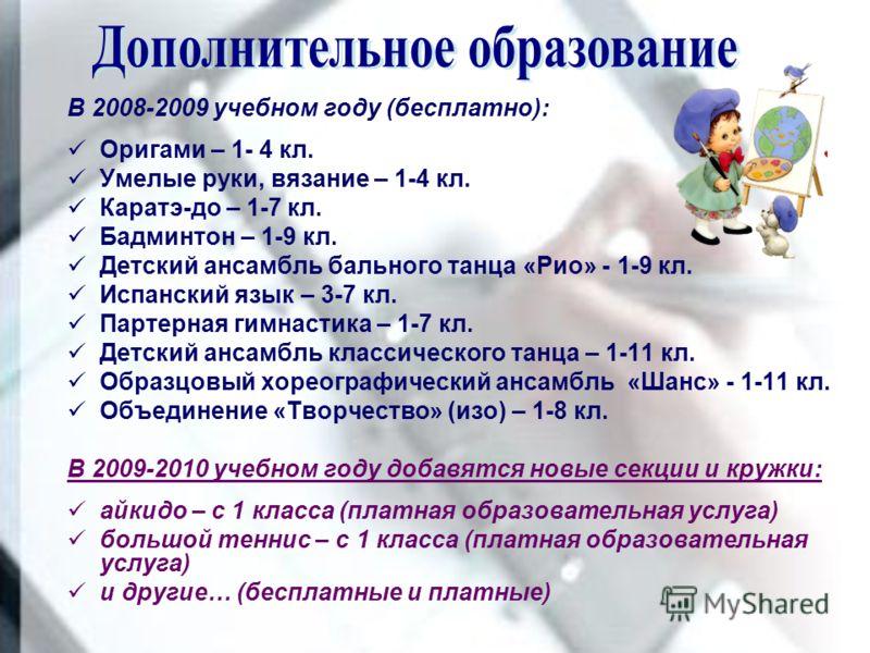 В 2008-2009 учебном году (бесплатно): Оригами – 1- 4 кл. Умелые руки, вязание – 1-4 кл. Каратэ-до – 1-7 кл. Бадминтон – 1-9 кл. Детский ансамбль бального танца «Рио» - 1-9 кл. Испанский язык – 3-7 кл. Партерная гимнастика – 1-7 кл. Детский ансамбль к